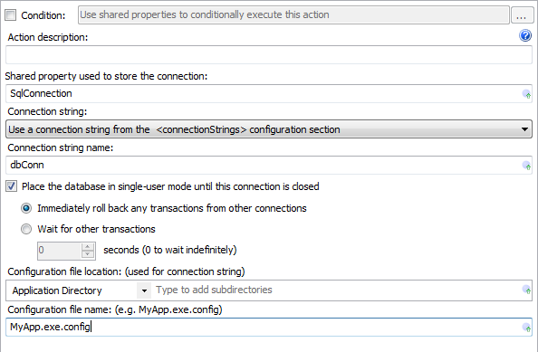 Open SQL Server Connection Action Editor
